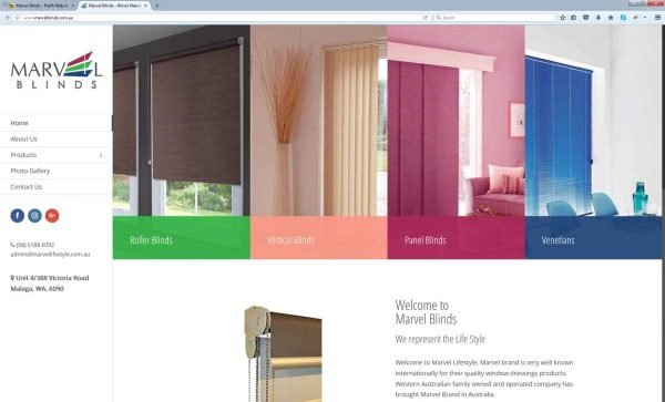 Blind Supplier Website Design Perth