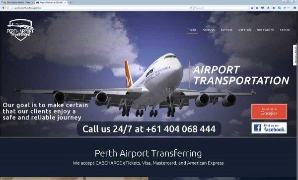 Airport Taxi Website Design Perth