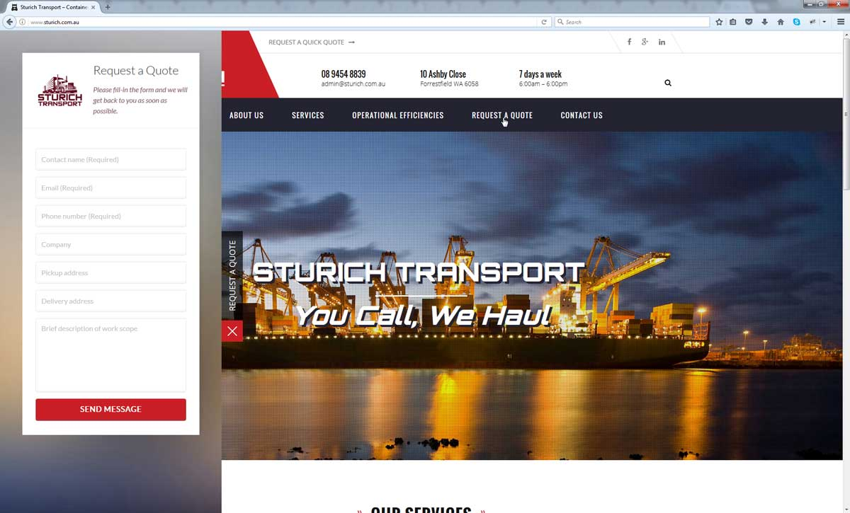 Sturich Transport Perth Web Agency