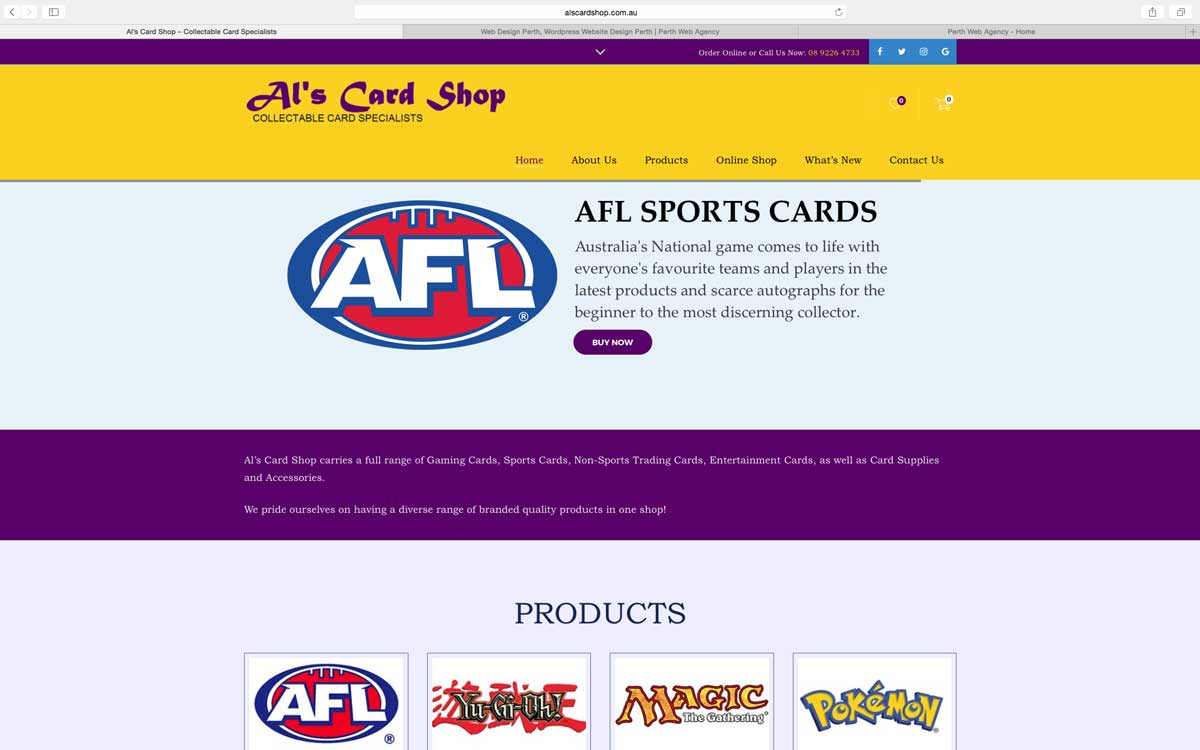 Online Shop Website Design Perth - Als Card Shop