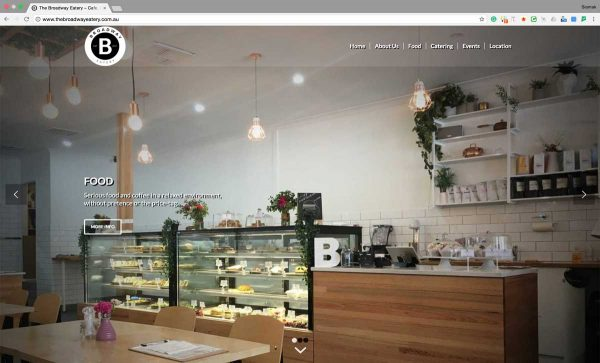 Cafe Coffee Shop Website Design Perth - The Broadway Eatery