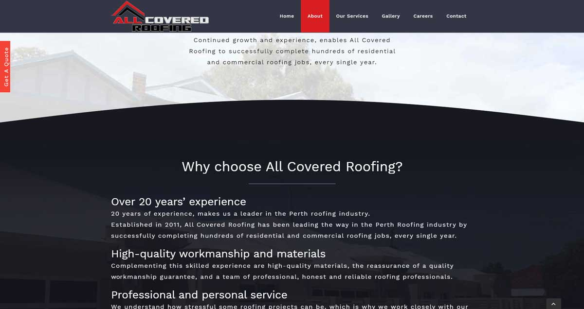 Roofing Company Website